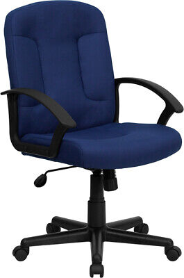 Mid Back Navy Fabric Office Desk Chair W Padded Arms Adjustable Seat Height