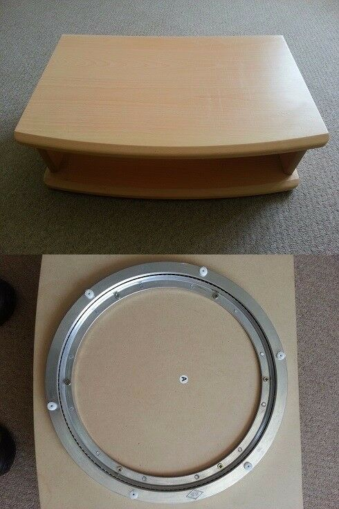 Wooden rotating TV stand in light wood effect