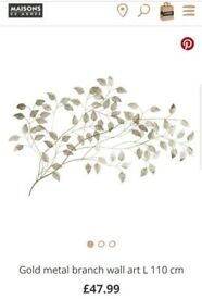 Gold metal branch wall decoration - brand new