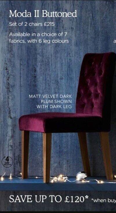 SOLD. Next Moda II buttoned plum matte velvet dining chairs