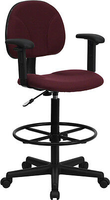 Ergonomic Multi Function Drafting Stool with Arms BURGUNDY