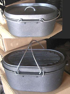 Cast iron Oval Roaster Self-basting lid Dutch Oven Cookware Camp Pot