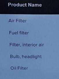 Hyundai 2.0 CRDI service parts air filter fuel filter oil filter interior air filter headlight bulb