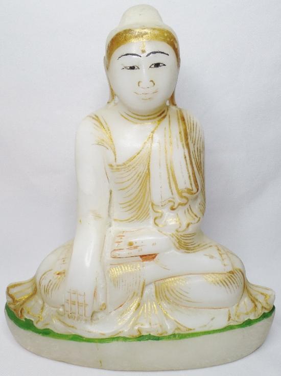 ANTIQUE 19TH CENTURY MANDALAY BURMESE GILT ALABASTER SITTING SHAN BUDDHA MONK