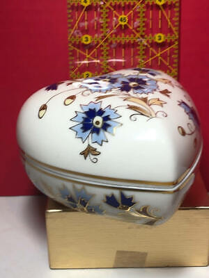 Herend White Blue Petals Gold trim Porcelain Heart-Shaped Jewelry Box