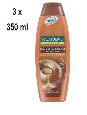 3 x PALMOLIVE Shampoo Luminous Nourishment für trockenes, krauses Haar- 350 ml