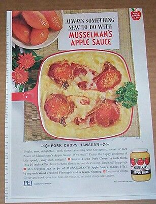 1964 Vintage Ad   Musselmans Apple Sauce Hawaiian Pork Chops Recipe Print Ad
