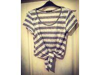Grey & White Stripy Vest Top - Size 12