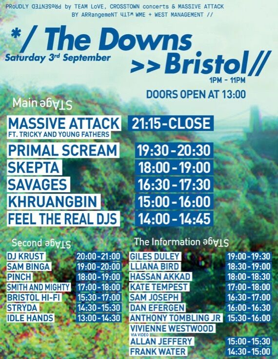 1 x Ticket (£50) Massive Attack ft Tricky, Primal Scream, Skepta etc - Bristol Downs, Sat 03.09.16