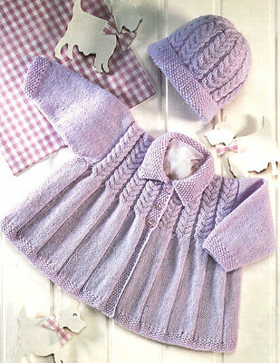 "Baby Matinee Coat with Collar and Pull On Hat 16 - 22""  4 Ply Knitting Pattern"