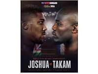 6× Anthoney joshua vs takam- FLOOR SEATS D9