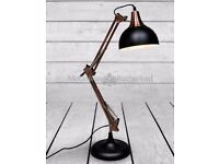 New and boxed traditional black and copper finish desk lamp