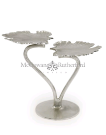 Nickle finish double ginkgo leaf table