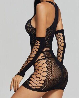 Damen Netz-Kleid Netzkleid Sexy Dessous Body Reizwäsche Kleid Netz Body Schwarz