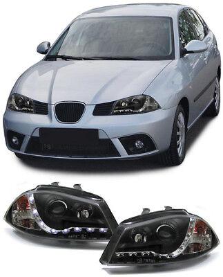 Scheinwerfer LED Tagfahrlicht Optik schwarz für Seat Ibiza 6L 02-08 (Schwarz Licht Scheinwerfer)