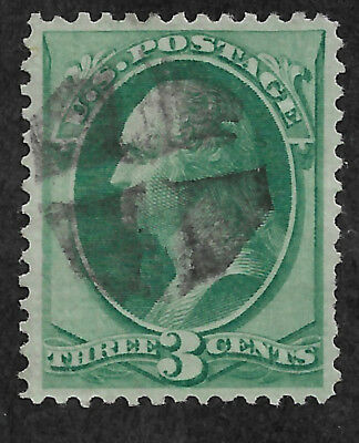 136 – 1870 3c Washington, Green - EFO: Quad Split Grill -  Used - XF/S