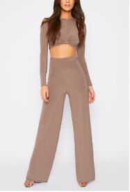 Knot Crop Top and Wide leg Trousers Co-ord