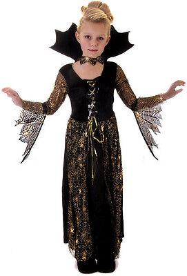 Mädchen Halloween Spinnennetz Hexe Queen Vampir Kleid Kostüm Schuhe Neu 4-6-9-13 ()