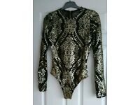 GORGEOUS DRESSY BODYSUIT FROM RIVER ISLAND SIZE S FITS 8 /10 GOLD MATT SEQUIN