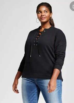 Ava & Viv Womens Plus Size Long Sleeve French Terry Lace Up Top Black