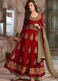 Red and Gold Pakistani/Indian party dress size 36 with embroidery and borders