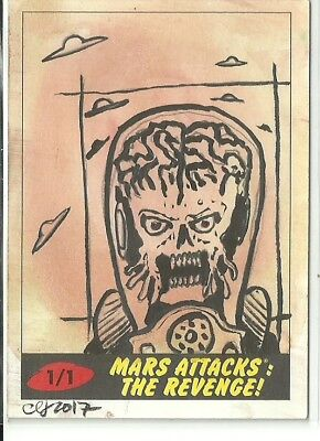 2017 Topps Mars Attacks The Revenge ! Martian Sketch Card by Clinton Yeager (A)