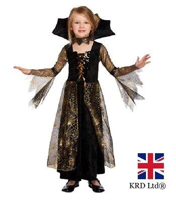Girls Vampire SPIDERELLA Halloween Fancy Dress Costume Kids Child Party Outfit