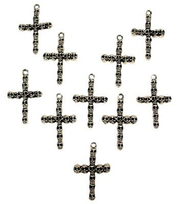Lot of 10 Antique Silver Skull Cross Necklace Pendants Gothic Wholesale Set