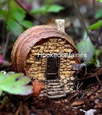 Hobbit House - Barrel Fairy House Cottage TO 4159  Miniature Fairy Gnome Hobbit Garden