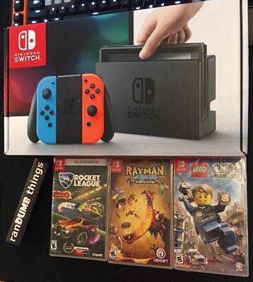 Nintendo Switch 32GB Neon Red Blue Joy-Con Rocket League Rayman Legends LegoCity