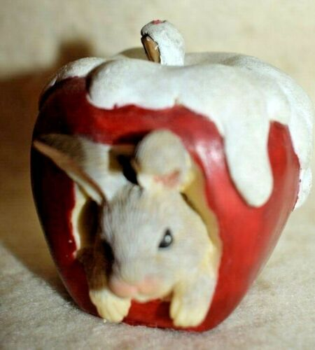 """T2=Estate Easter Bunny Decor, 2-1/2"""" Tall Resin Apple with Snow on Top w/Bunny"""