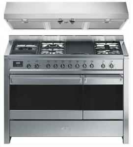 "https://aniks.ca/ Smeg A3XU7 & KUC48X 48"" Dual Fuel Range and Range Hood 600 CFM Stainless Steel"