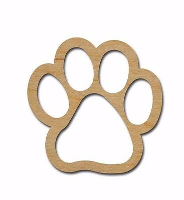 Paw Print Shape Unfinished Wood Craft Cutout Shapes Variety Of Sizes Made In USA