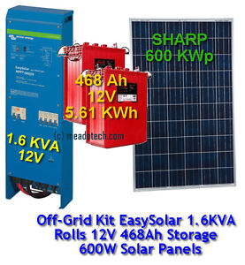 Victron Off Grid EasySolar 1.6KVA Rolls 5.61KWH Battery 600W SHARP Solar Panels