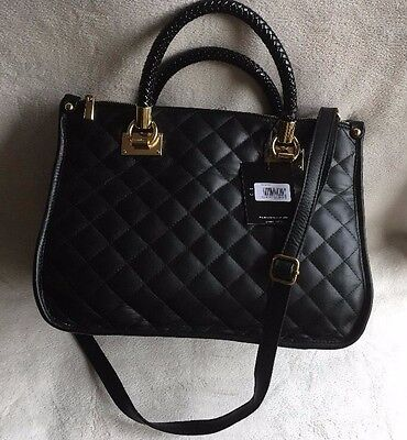 Isabella Rhea Woven Handle Quilted Leather Satchel Shoulder Bag new