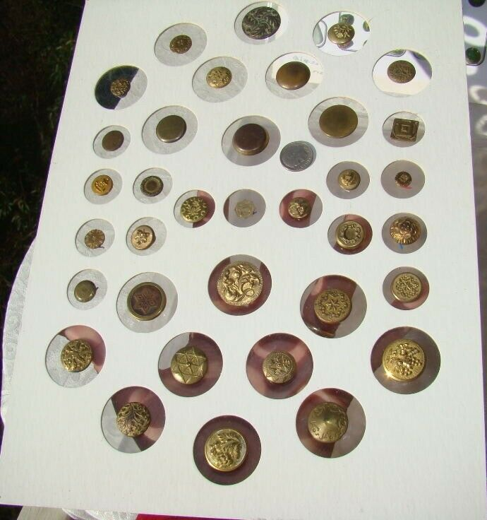35 Card Golden Age Colonial ANTIQUE Brass BUTTONS Military Civil War Back Marks
