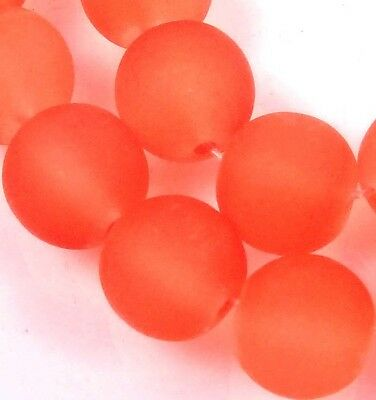 25 Frosted Sea Glass Round Beads 10mm Matte - Hyacinth / orange