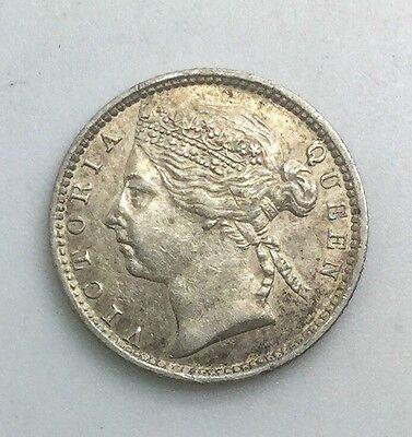 1901  STRAITS SETTLEMENTS  TEN CENTS  VICTORIA SILVER NICE LUSTROUS COIN