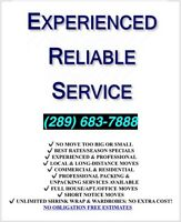Experienced Movers. Reliable Movers (289) 683-7888