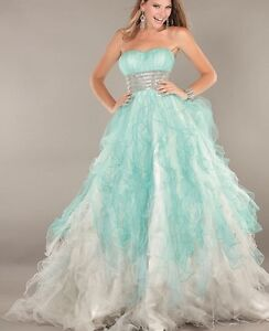 BRAND NEW Jovani Blue/White Prom Dress (size 18)