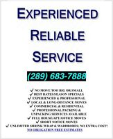 Experienced Movers. Reliable Service (289) 683-7888