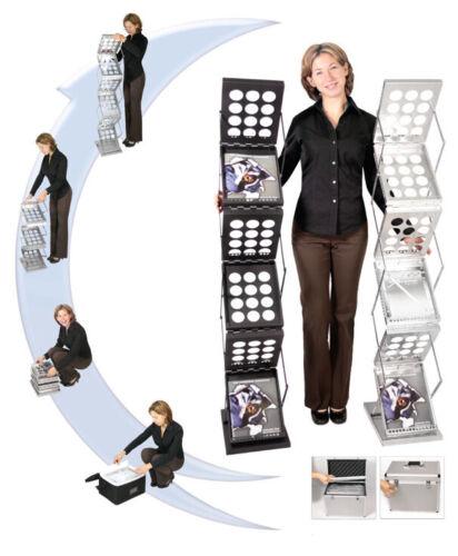 ZedUP, Pop up Collapsible Trade Show Literature Rack 6 Pockets - Silver