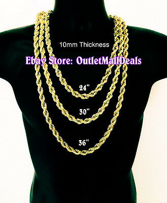 - Hip Hop 14K Gold Plated 10mm Solid Rope Chain Necklace 18
