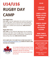 U14/U16 FREE RUGBY DAY CAMP