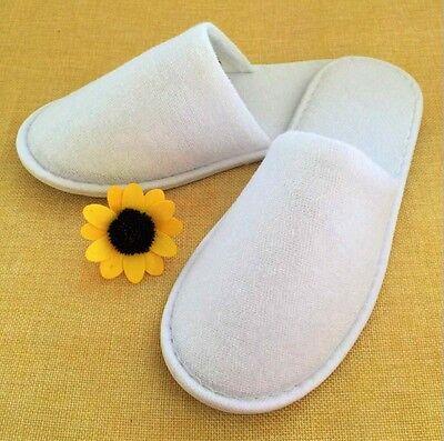 10Paar Pack Slipper Spa Hausschuhe Einweg Hotel Schuh Pantoffeln Weiß NEU DE