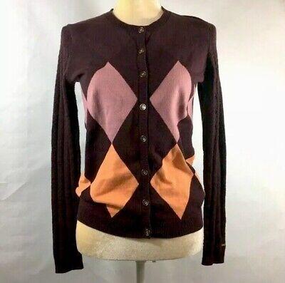 Purple Argyle Sweater (Tommy Hilfiger Womens S/P Argyle Sweater Purple Orange Cotton Blend Button)