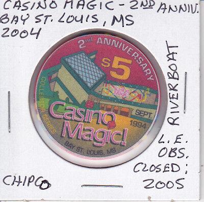 $5 CASINO CHIP CASINO MAGIC BAY ST LOUIS, MS RIVERBOAT CHIPCO L.E. OBSOLETE 2ND