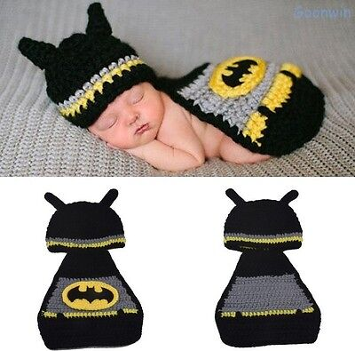 Batman Baby Kostüme (Neugeborene Baby Knit Strick Fotoshooting Kostüm Batman Mütze)