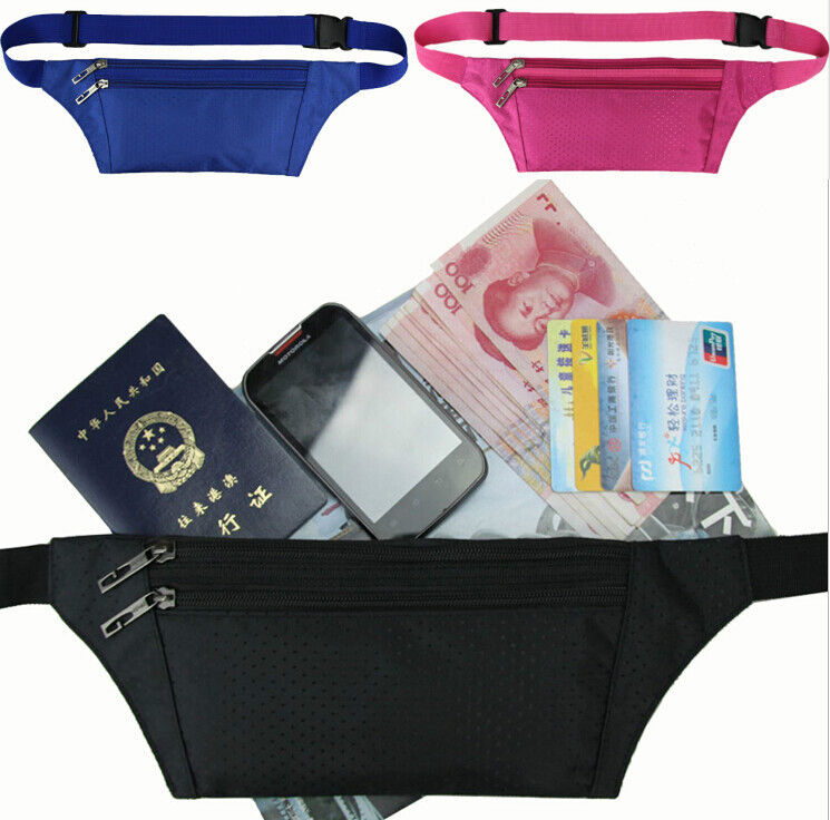 Travel Pouch Hidden Compact Security Money Passport ID Holder Waist Belt Bag
