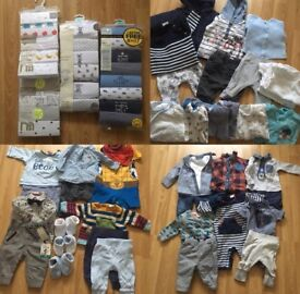 Baby boy bundle with brand new packs of vests Age 0-3